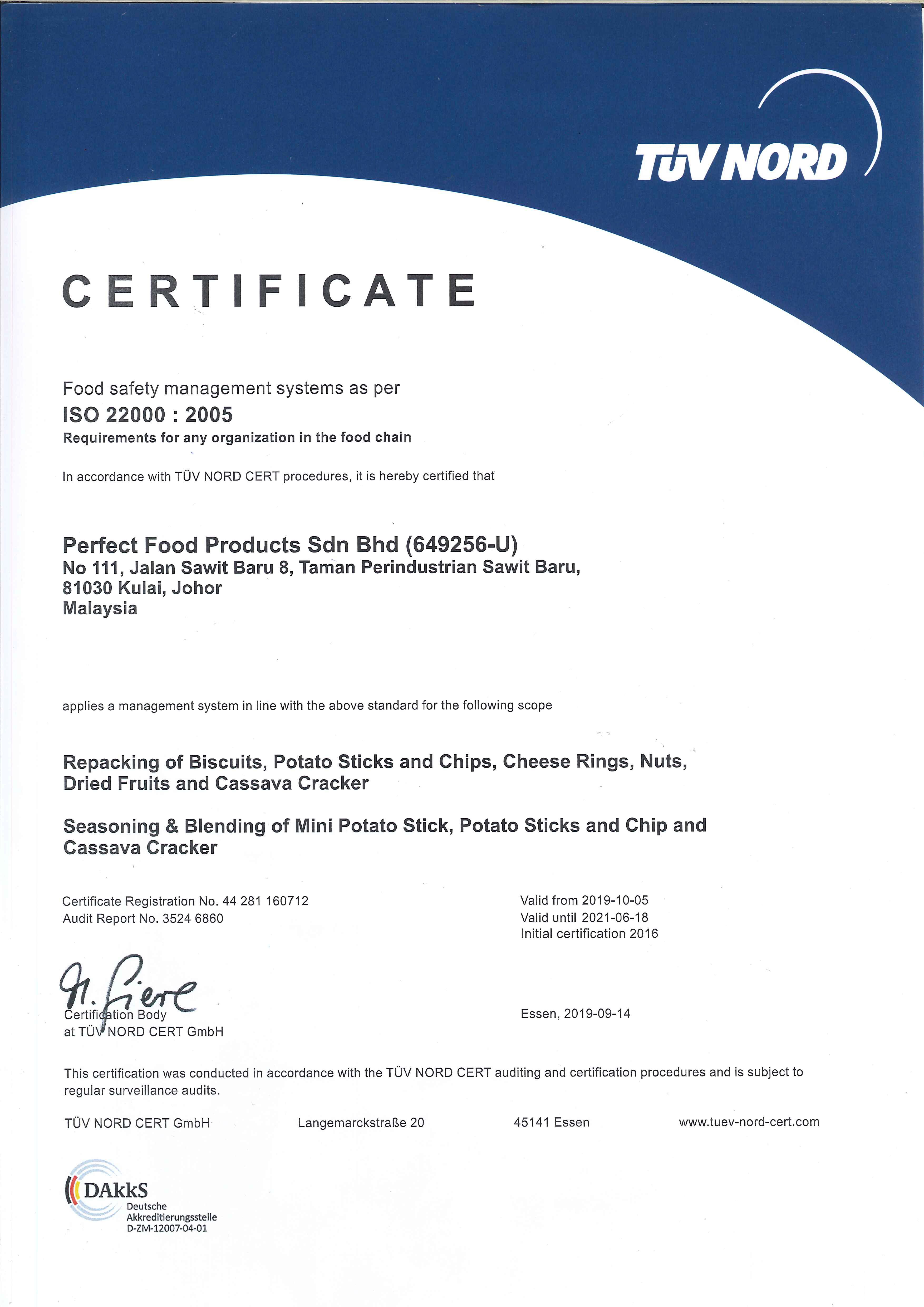 Perfect Food Certificate ISO 2019~2021
